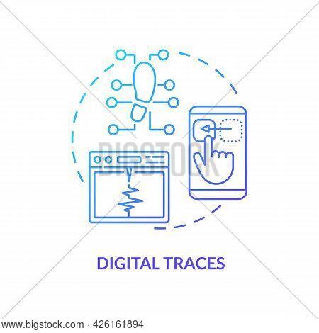Digital Traces Concept Icon. Digital Computer Characteristics. Technologies Problems Diagnosing Stra