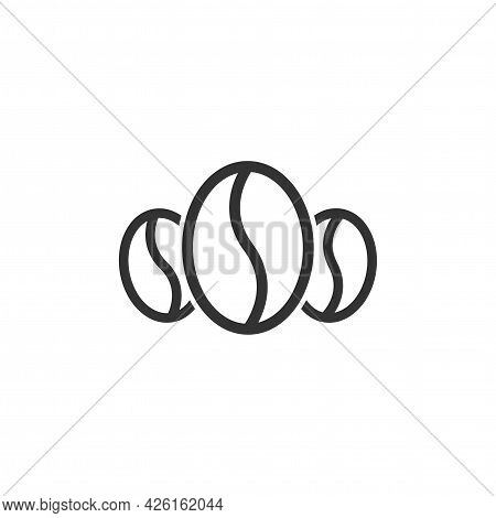 Three Coffee Beans Icon. Caffeine Symbol. Flat Vector Illustration Isolated On White Background.