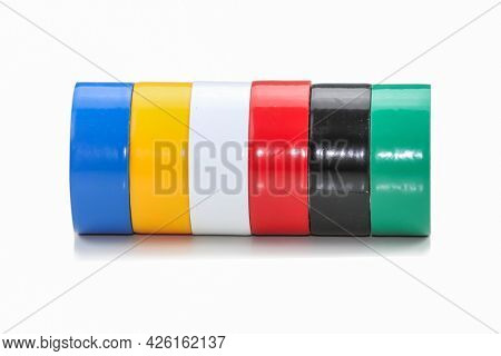 Colorful electrical insulation tapes on white background