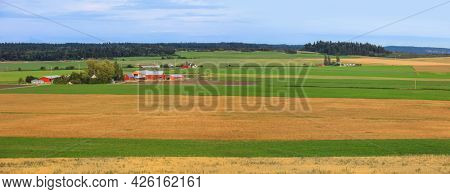 Panoramic view of Farm landscape in Whidbey Island , Washington state.