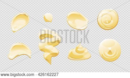 Mayonnaise Or Yoghurt Drop, Splash Or Stain Set. Top And Front View. Vector Illustration In Cartoon