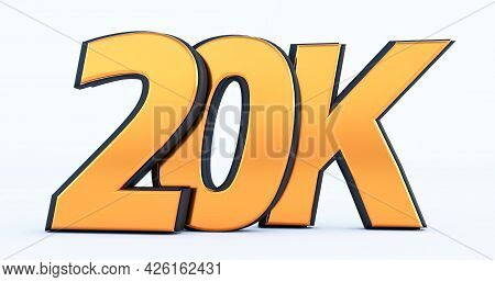 Golden 20k Or 20000 Thank You, Web User Thank You Celebrate Of Subscribers Or Followers And Likes, 3