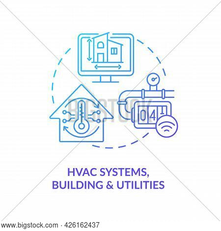 Hvac Systems Buildings And Utilities Concept Icon. Digital Twin Applications By Industry. Smart Prod