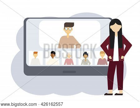 Vector Illustration Of An Online Conference. A Woman Next To A Computer With Portraits Of Men And Wo