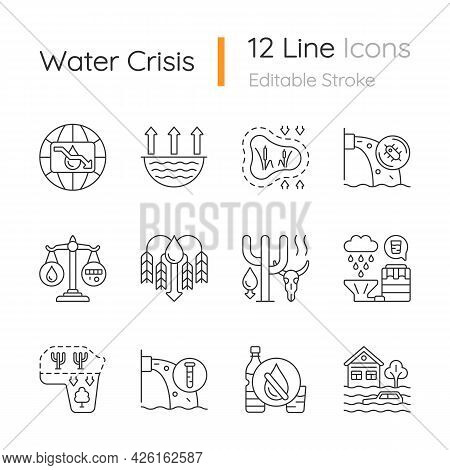 Global Water Crisis Linear Icons Set. Water Resources Contamination. Reuse And Recycling. Crop Short