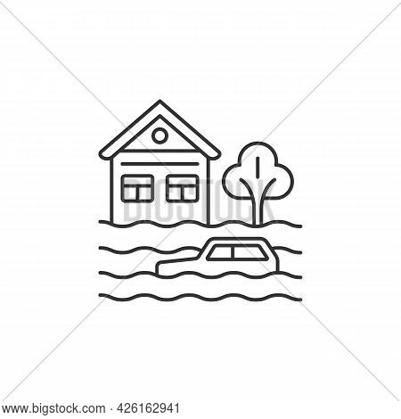 Floods Linear Icon. Water-related Disaster. Negative Impacts On Environment. Natural Phenomena. Thin