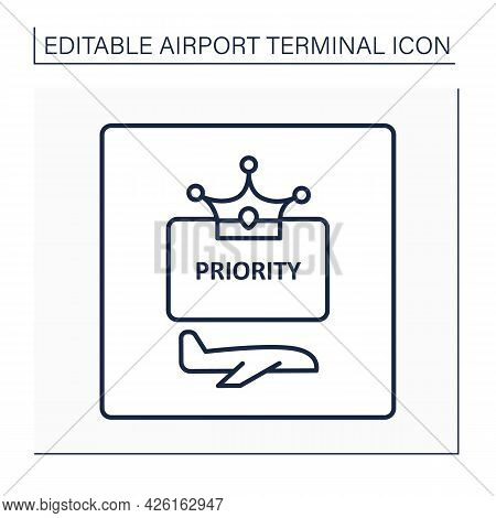 Priority Pass Line Icon. Space To Relax And Refresh Before Flight.exclusive Lounge Zone.airport Term
