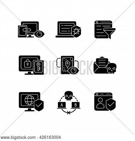 Internet Surveillance Black Glyph Icons Set On White Space. Cross-device Tracking. Antivirus Softwar