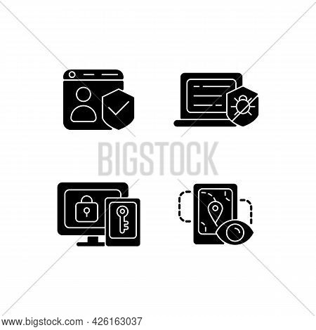 Protecting Right To Online Privacy Black Glyph Icons Set On White Space. Securing Accounts. Antiviru