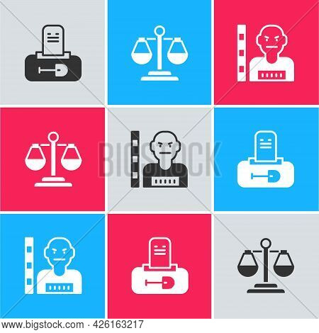 Set Grave With Tombstone, Scales Of Justice And Suspect Criminal Icon. Vector