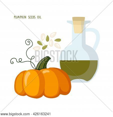 Pumpkin-seed Oil. Glass Oil Bottle, Pumpkin, Seeds Isolated On White Background. Healthy Vegetable E