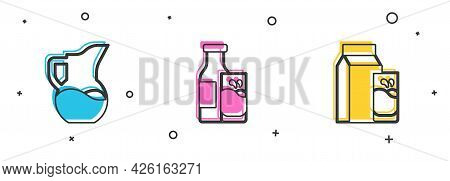 Set Milk Jug Or Pitcher, Bottle Milk And Glass And Paper Package For Kefir Icon. Vector