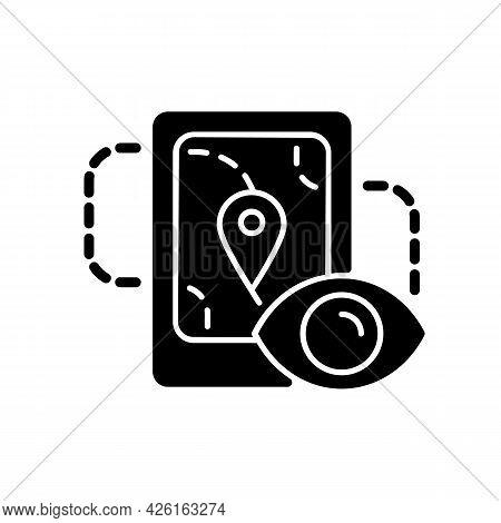 Location Tracking Black Glyph Icon. Trailing People Movement Through Gps Navigation. Surveillance Te
