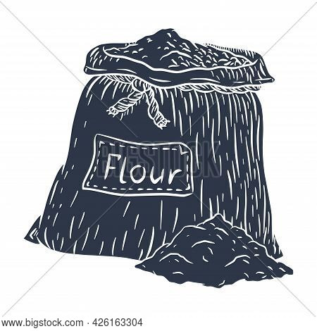 Silhouette Of Flour Canvas Sack. Hand Drawn Engraved Silhouette Of Burlap Bag With Flour For Emblem,