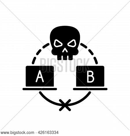 Sniffing Attack Black Glyph Icon. Illicitly Data Capturing And Decoding. Retrieving Sensitive Inform