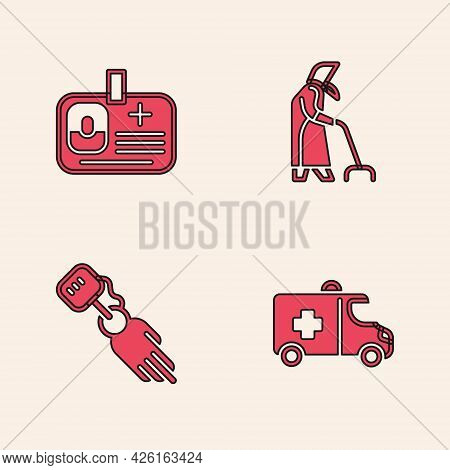 Set Emergency Car, Identification Badge, Grandmother And Prosthesis Hand Icon. Vector
