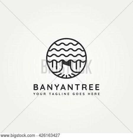 Banyan Tree Plant Minimalist Line Art Icon Logo Badge Template Vector Illustration Design. Simple Mi