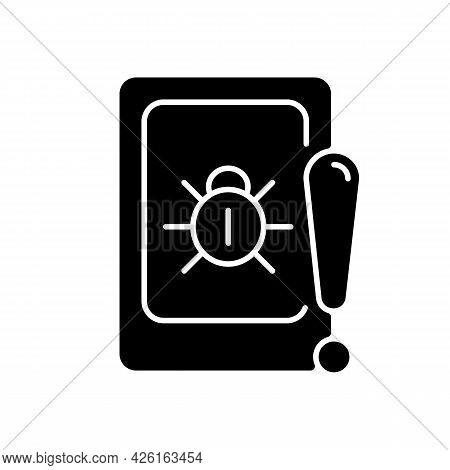 Cell Phone Bugging Black Glyph Icon. Tracking Mobile Device Secretly. Smartphone Surveillance. Recor