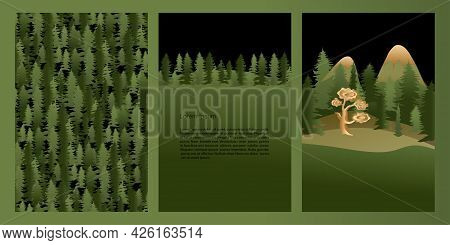 Vector Set Mystic And Elf Theme. Nature And Green Forest, A Pattern Of Fir Trees, A Picture With Pla