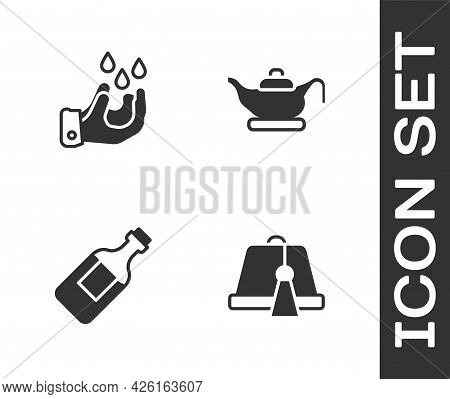 Set Turkish Hat, Wudhu, Bottle Of Water And Oil Lamp Icon. Vector