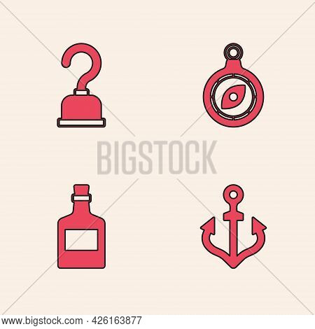 Set Anchor, Pirate Hook, Compass And Alcohol Drink Rum Icon. Vector
