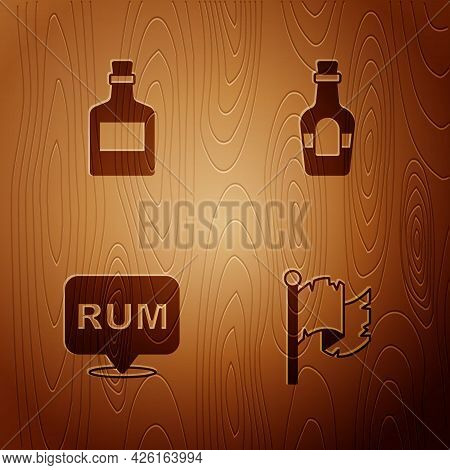 Set Pirate Flag, Alcohol Drink Rum, And On Wooden Background. Vector