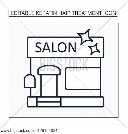 Salon Line Icon. Establishment For Hairdresser, Beautician, Nail Master And Makeup Artist.spa, Massa