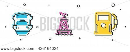 Set Oil Tanker Ship, Rig And Petrol Or Gas Station Icon. Vector