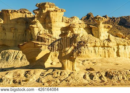 The Enchanted City Of Bolnuevo, Yellow Sandstone Shapes, Rock Formations, Murcia Spain. Tourist Attr