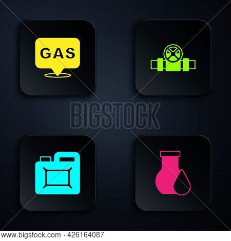 Set Oil Petrol Test Tube, Location And Gas Station, Canister For Motor Oil And Metallic Pipes Valve.