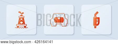 Set Gas Tank For Vehicle, Oil Rig And Gasoline Pump Nozzle. White Square Button. Vector