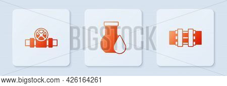 Set Oil Petrol Test Tube, Metallic Pipes And Valve And . White Square Button. Vector