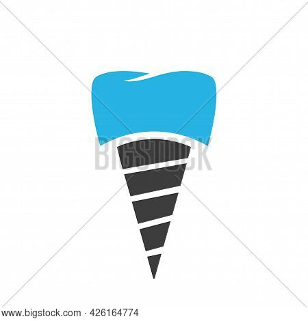 Dental Tooth Implant Technology Icon Vector Isolated Flat Cartoon Sign, Idea Of Tooth Prosthesis Med