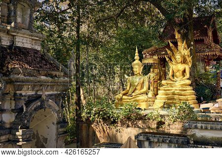 Golden Buddha Statues In The Rainforest. Wat Phra That Chom Kitti. Temple On A Hill Above The Mekong