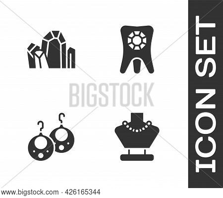 Set Necklace On Mannequin, Gem Stone, Earrings And Tooth With Diamond Icon. Vector