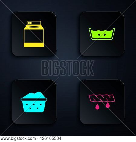 Set Squeeze Clothes, Washer, Basin With Soap Suds And Temperature Wash. Black Square Button. Vector