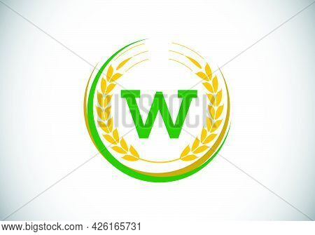 Initial Letter W Sign Symbol With Wheat Ears Wreath. Organic Wheat Farming Logo Design Concept. Agri