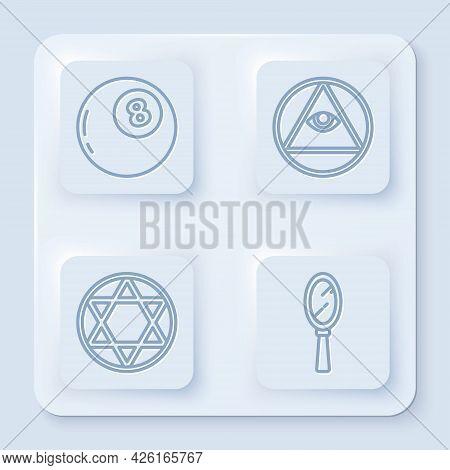 Set Line Magic Ball Of Predictions, Masons, Star Of David And Magic Hand Mirror. White Square Button