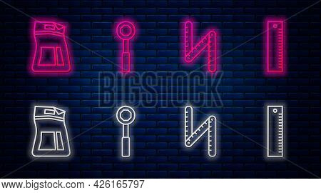 Set Line Wrench Spanner, Folding Ruler, Cement Bag And Ruler. Glowing Neon Icon On Brick Wall. Vecto