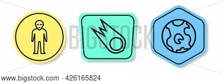 Set Line Alien, Comet Falling Down Fast And Earth Globe. Colored Shapes. Vector