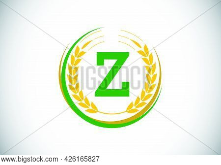 Initial Letter Z Sign Symbol With Wheat Ears Wreath. Organic Wheat Farming Logo Design Concept. Agri