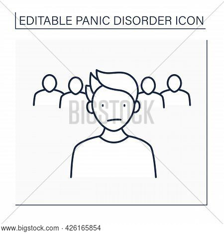 Loneliness Line Icon. Detached Feeling From Surroundings. Avoiding Crowds.panic Disorder Concept. Is