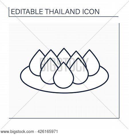 Dessert Line Icon. Traditional Thai Dessert. Tasty Cream Biscuits. Thailand Concept. Isolated Vector