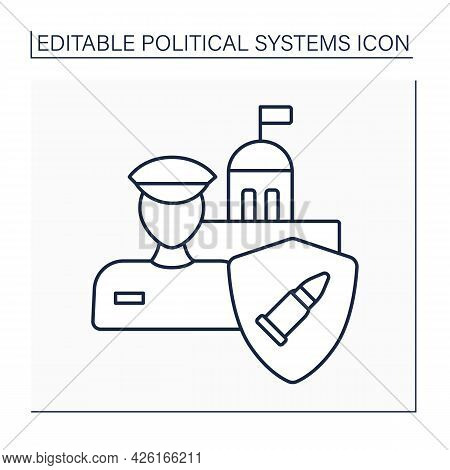 Military Regime Line Icon. Military Dictatorship.authoritarian Government Controlled By Military And
