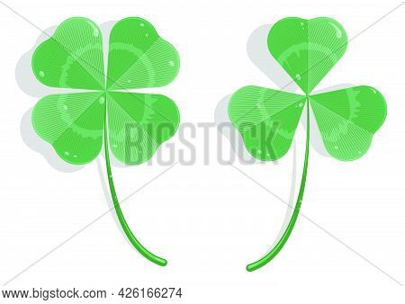 Realistic Three And Four Leaf Clover In Cartoon Style. Clover Leaf With Dew Drops. Holiday Symbol, M