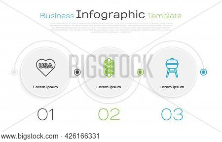 Set Line Usa Independence Day, Hotdog Sandwich And Barbecue Grill. Business Infographic Template. Ve