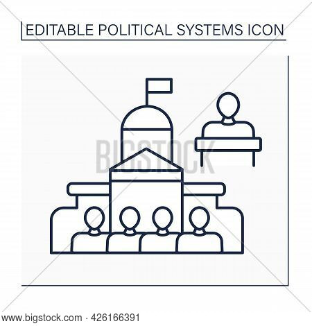 Parliament Line Icon. Legislative Body Of Government. Elected Politicians Make Laws For Country.poli