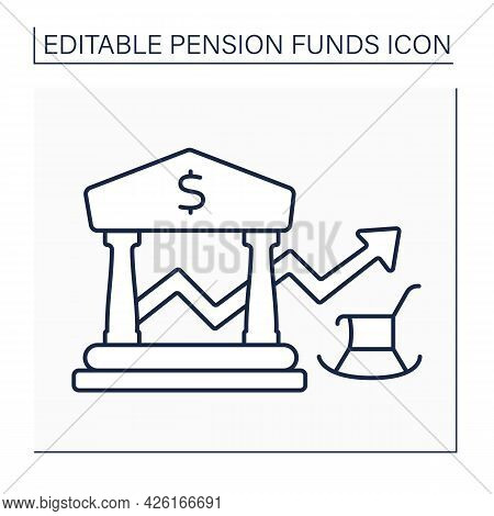 Balance Line Icon. Defined-benefit Plan. Profit, Payout Growth.accumulation Money. Pension Fund Conc