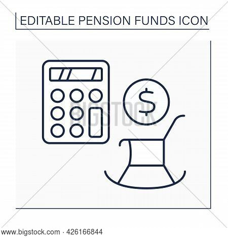 Retirement Calculation Line Icon. Counting Days Before Retirement. Accumulate Money. Pension Fund Co