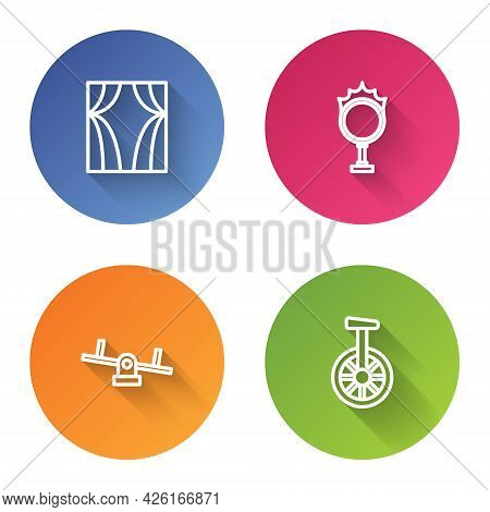 Set Line Circus Curtain Raises, Fire Hoop, Seesaw And Unicycle Or One Wheel Bicycle. Color Circle Bu
